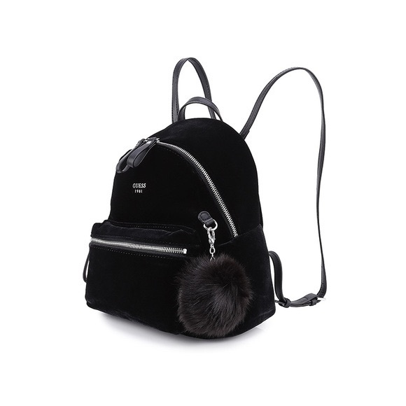 7cc86e8a2619 Guess Handbags - Guess black velvet backpack